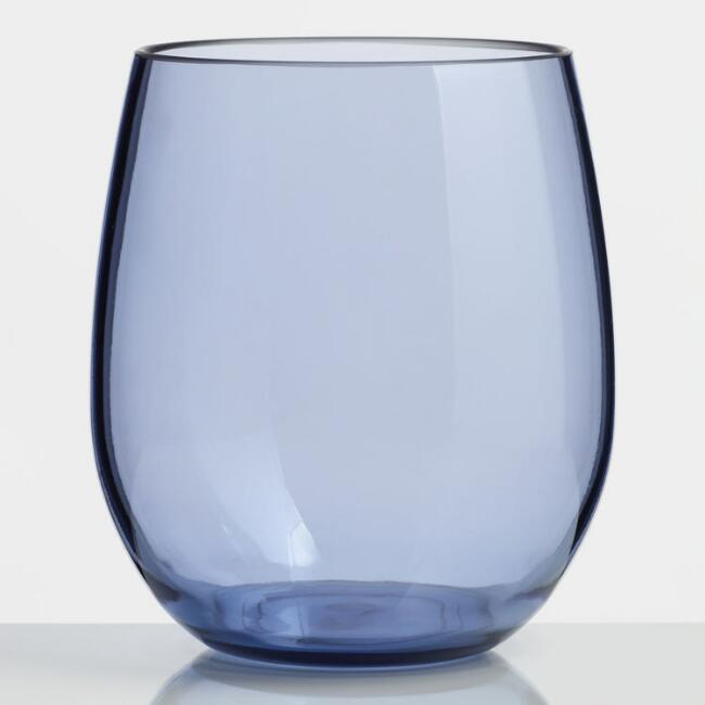 Dark Blue Acrylic Stemless Wine Glasses Set of 6
