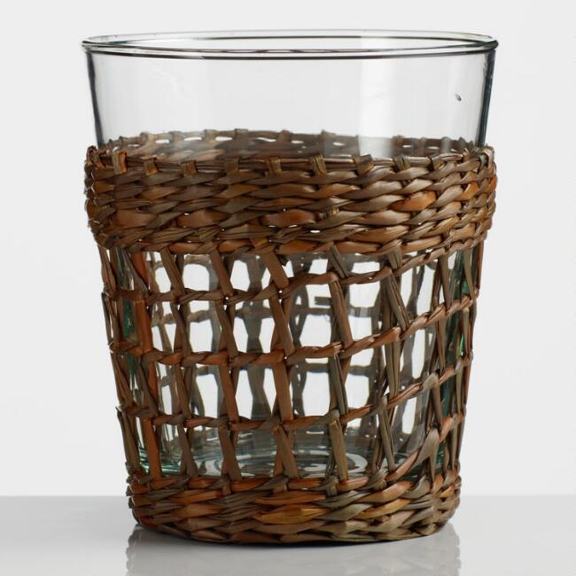 Seagrass Wrapped Double Old Fashioned Glasses Set of 4