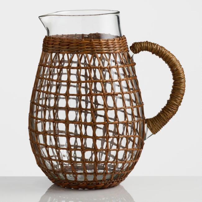 Seagrass Wrapped Drink Pitcher