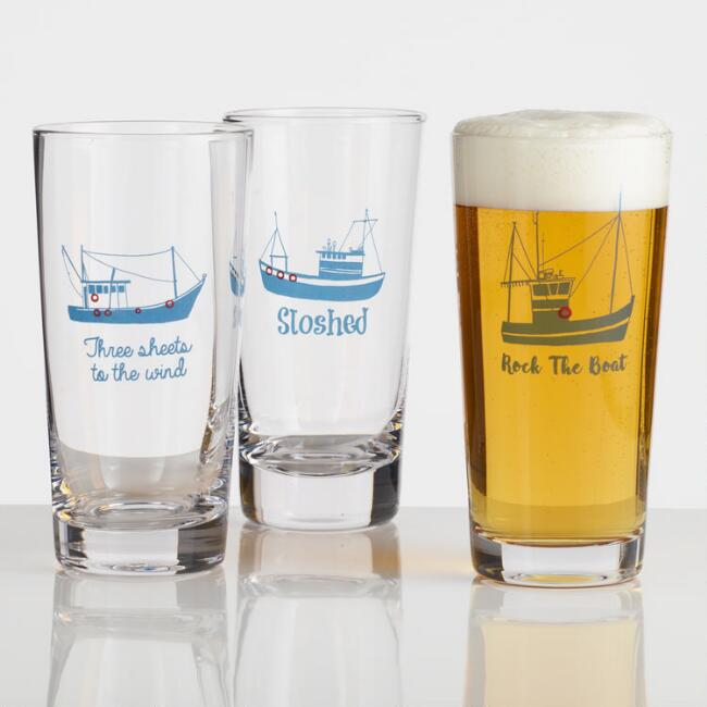 Boat Decal Pint Glasses Set of 3
