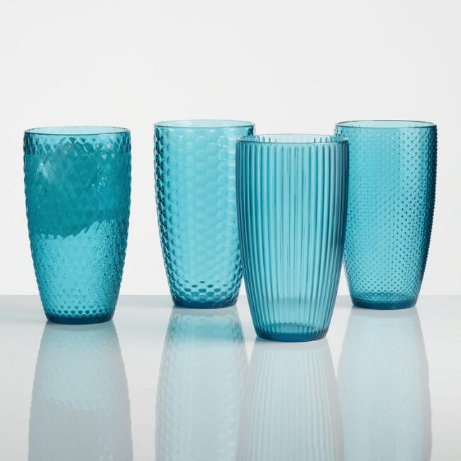 large aqua textured acrylic tumblers set of 4 world market