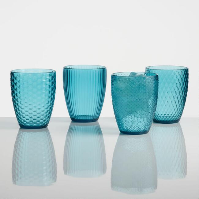 Small Aqua Textured Acrylic Tumblers Set of 4