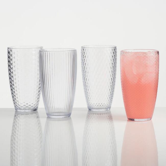Large Clear Textured Acrylic Tumblers Set of 4