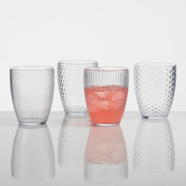 Small Clear Textured Acrylic Tumblers Set of 4