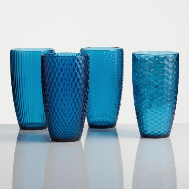 Large Dark Blue Textured Acrylic Tumblers Set of 4