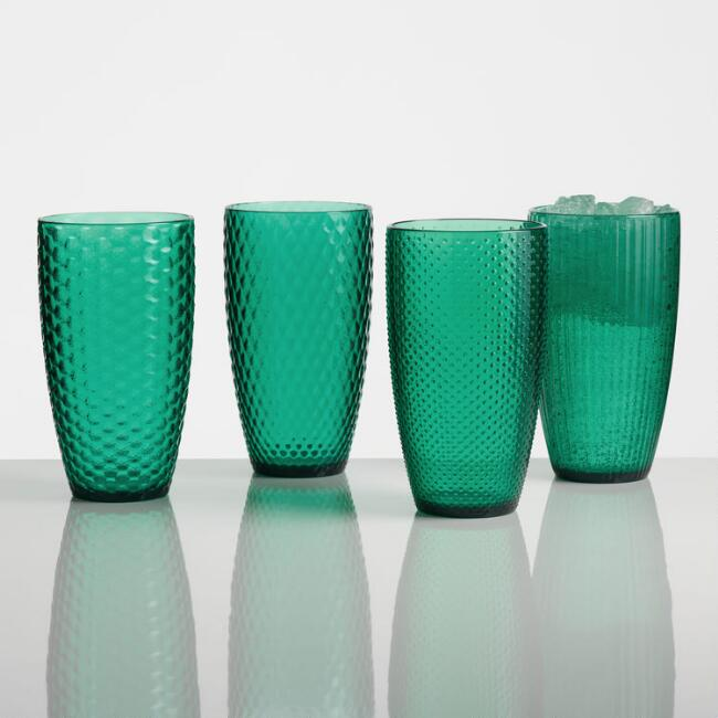 Large Green Textured Acrylic Tumblers Set of 4