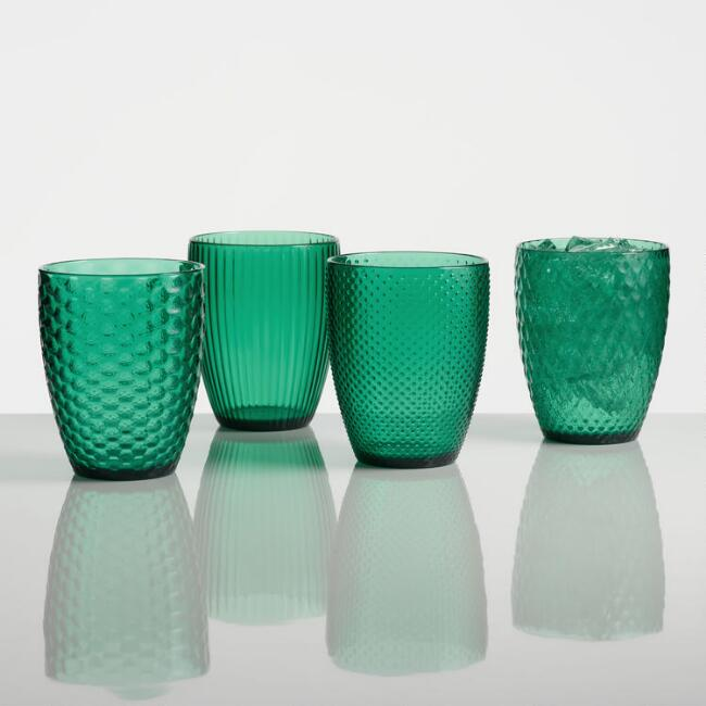 Small Green Textured Acrylic Tumblers Set of 4