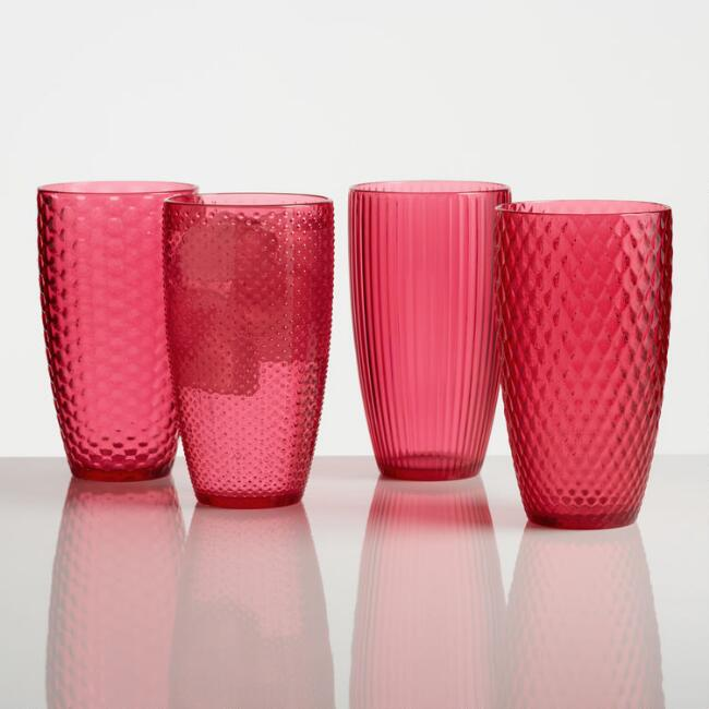 Large Pink Textured Acrylic Tumblers Set of 4