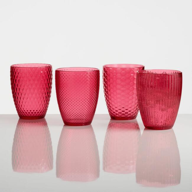 Small Pink Textured Acrylic Tumblers Set of 4