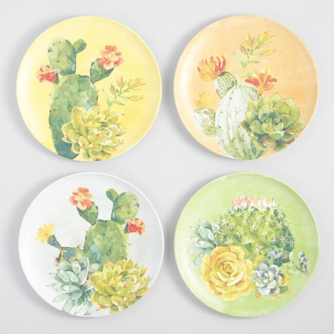Cactus Melamine Dinner Plates Set of 4