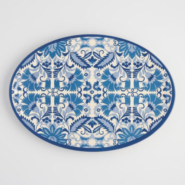Large Blue Solstice Melamine Oval Serving Platter