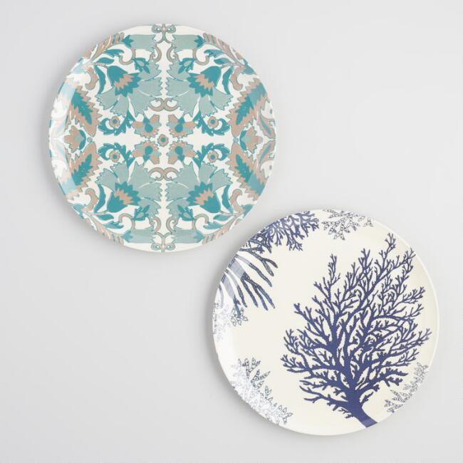 Blue Solstice Melamine Dinner Plates Set of 2