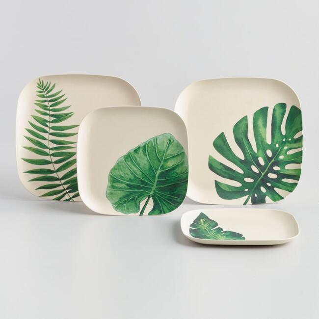 Leaf Print Pressed Bamboo Square Dinnerware Collection