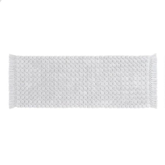 Light Gray Woven Dot Bath Mat
