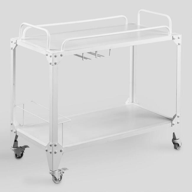 White Wood and Metal Bar Cart