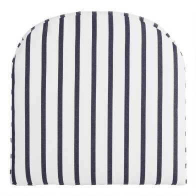 Sunbrella Indigo Lido Stripe Gusseted Outdoor Chair Cushion