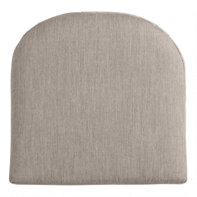 Sunbrella Khaki Ash Cast Gusseted Outdoor Chair Cushion