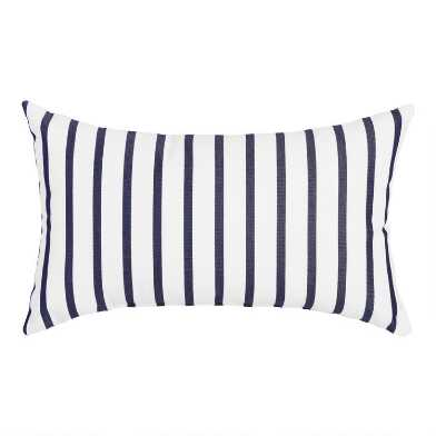Sunbrella Indigo Lido Stripe Outdoor Lumbar Pillow