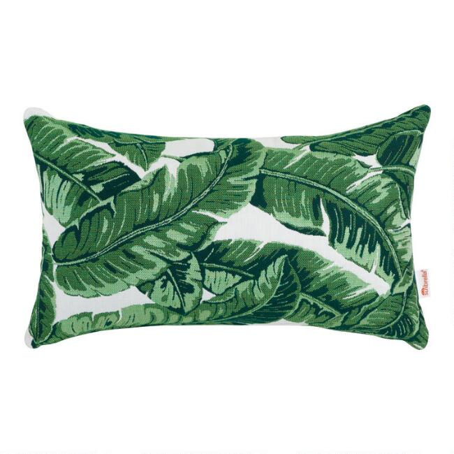 Sunbrella Tropical Leaf Outdoor Lumbar Pillow