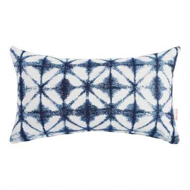 Sunbrella Indigo Tile Outdoor Lumbar Pillow