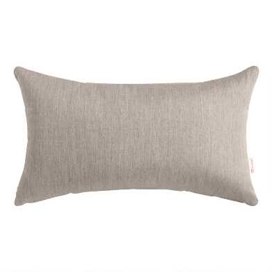 Sunbrella Khaki Ash Cast Outdoor Lumbar Pillow