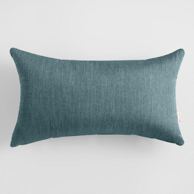 Sunbrella Teal Lagoon Cast Outdoor Lumbar Pillow