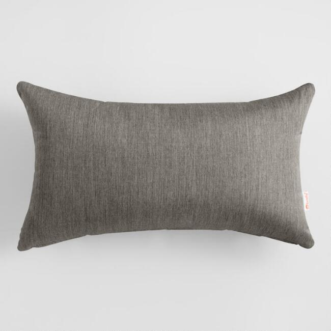 Sunbrella Charcoal Canvas Outdoor Lumbar Pillow