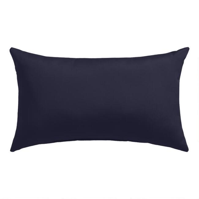 Sunbrella Navy Canvas Outdoor Lumbar Pillow
