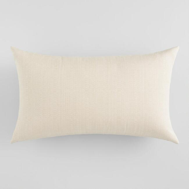 Sunbrella Antique Beige Linen Outdoor Lumbar Pillow