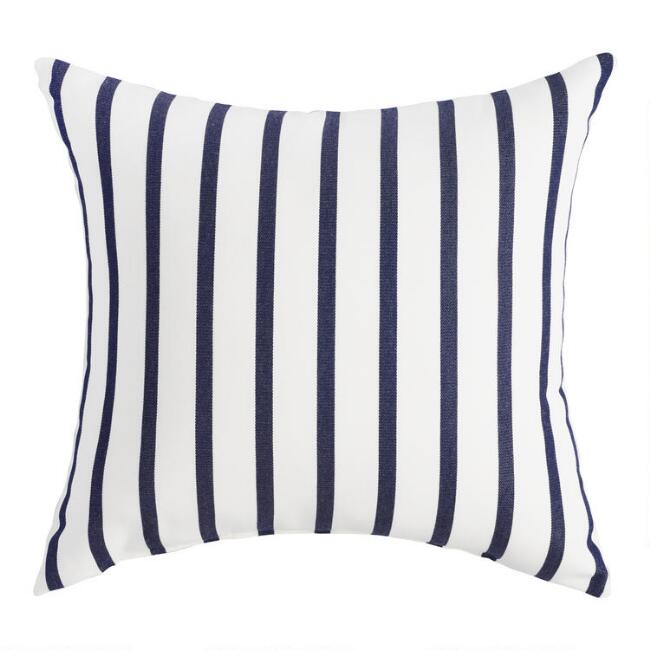 Sunbrella Indigo Lido Stripe Outdoor Throw Pillow