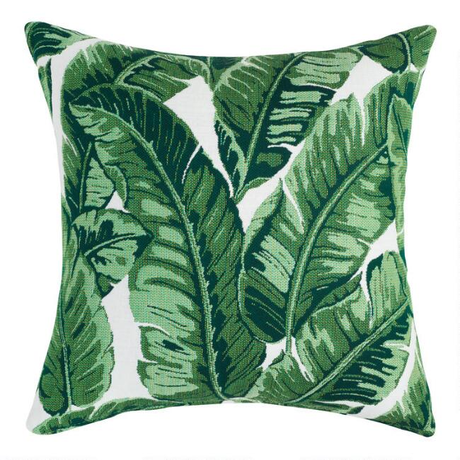 Sunbrella Tropical Leaf Outdoor Throw Pillow