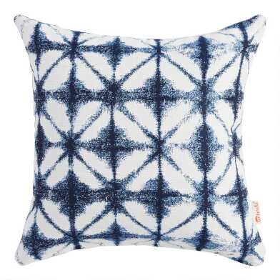 Sunbrella Indigo Tile Outdoor Throw Pillow