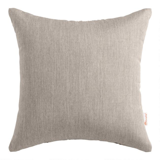 Sunbrella Khaki Ash Cast Outdoor Throw Pillow