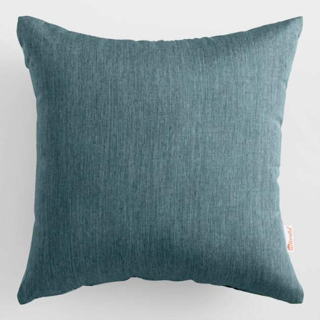 Sunbrella Teal Lagoon Cast Outdoor Throw Pillow
