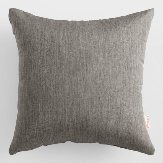Sunbrella Charcoal Canvas Outdoor Throw Pillow
