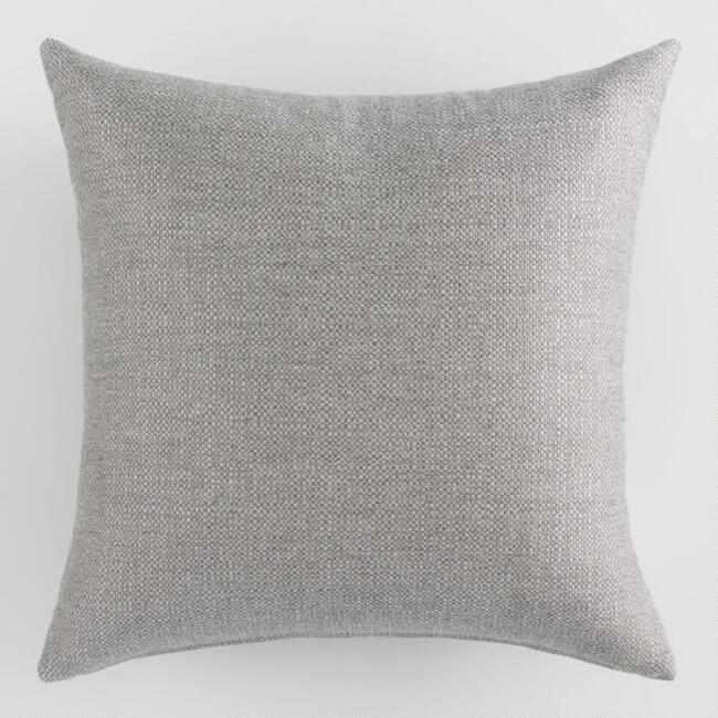 Sunbrella Stone Gray Action Outdoor Throw Pillow