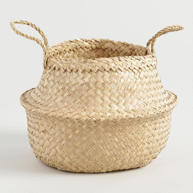 Natural Seagrass Floppy Tote Basket
