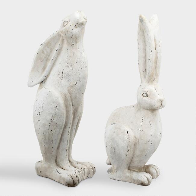 Distressed White Rabbit Decor