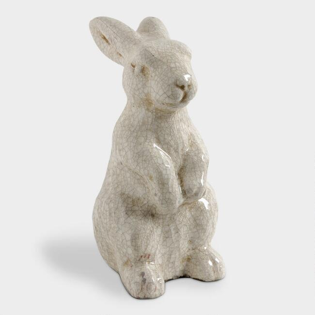 Distressed Ceramic Sitting Rabbit Decor