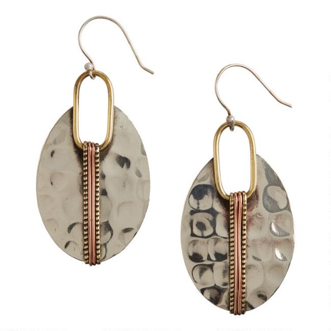 Hammered Silver Drop Earrings
