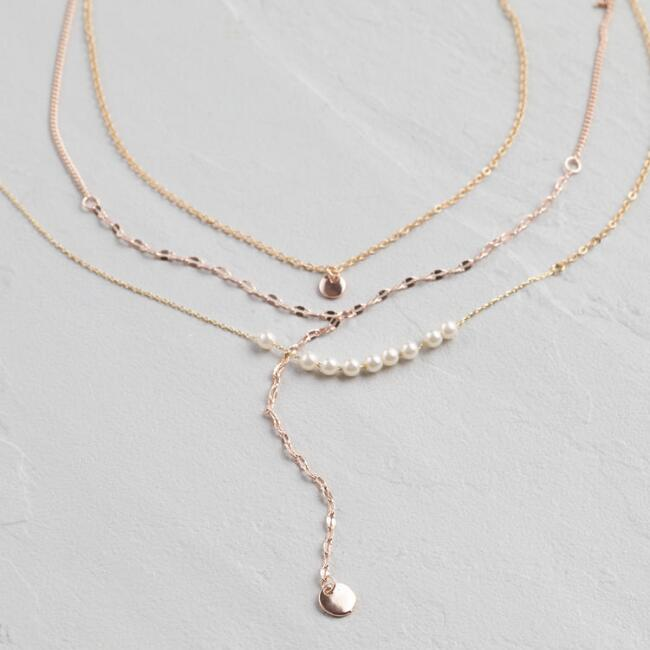 Gold and pearl bead triple layer lariat necklace world market aloadofball Images