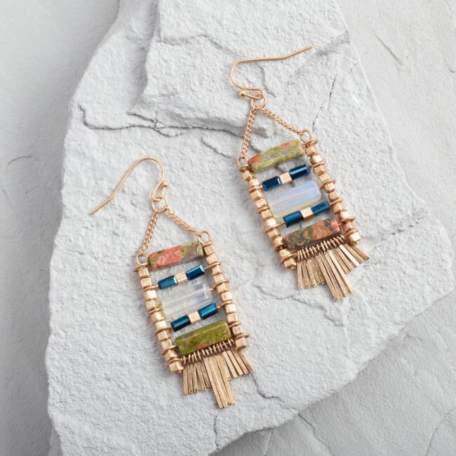 Gold Geometric Stone Bead Dangle Earrings