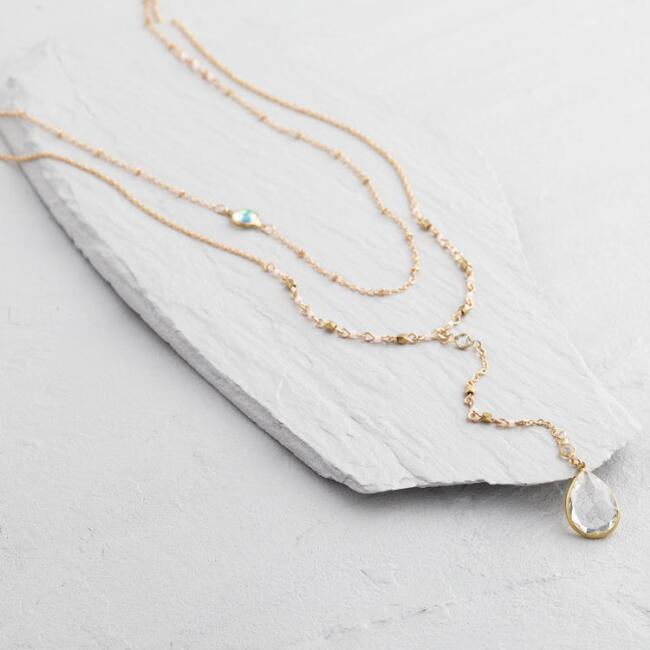 Gold Crystal Lariat Two Layer Necklace