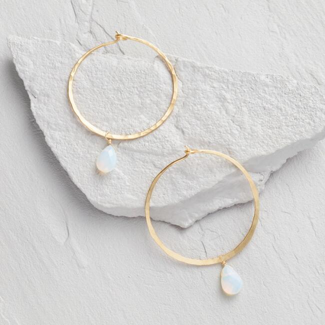 Gold And Opal Stone Dangle Hoop Earrings