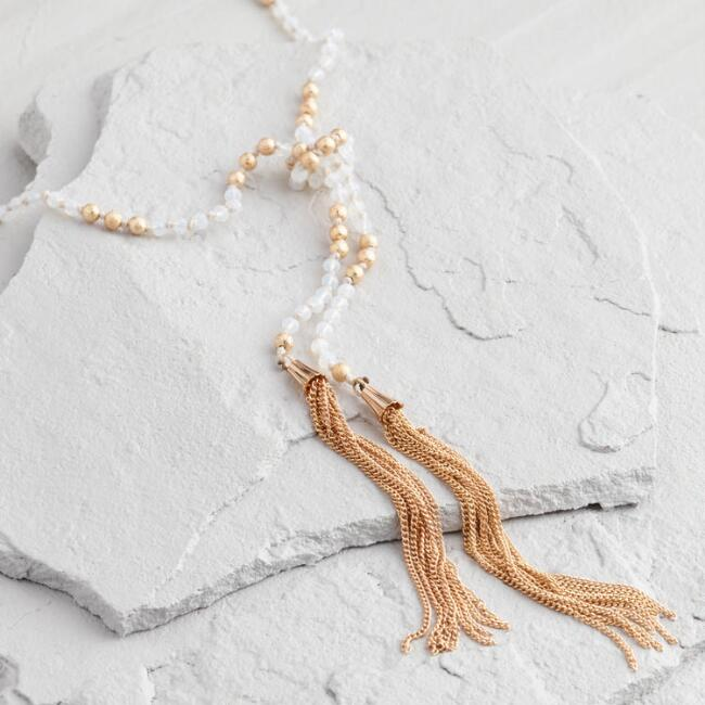 Gold and Clear Beaded Tassel Necklace