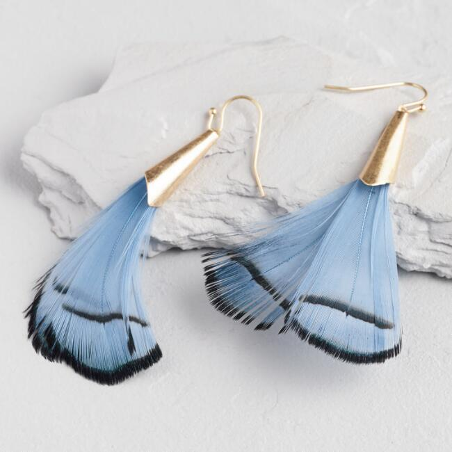 Gold And Blue Feather Dangle Earrings