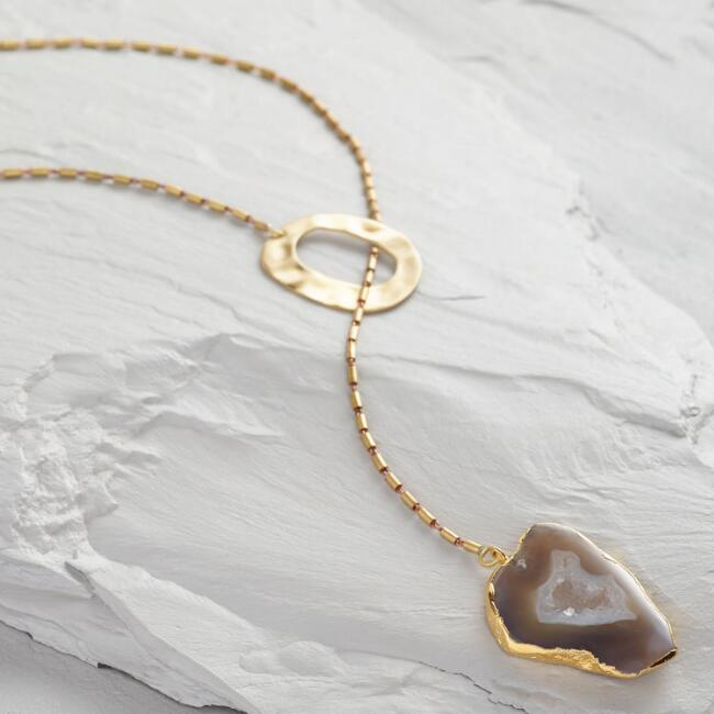 Gold Circle And Agate Lariat Necklace