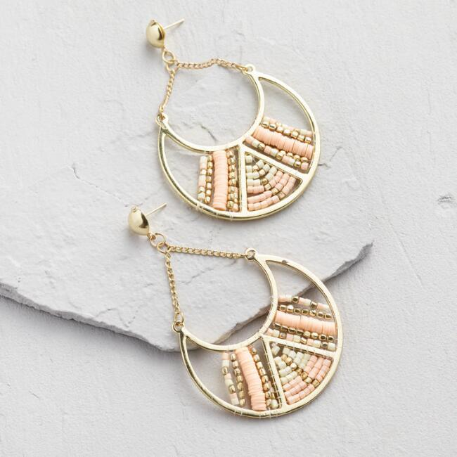 Large Gold And Blush Beaded Drop Earrings