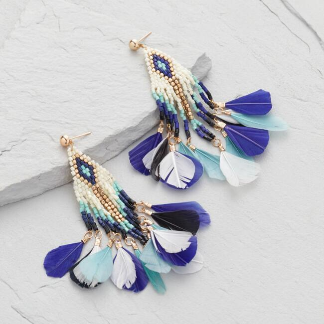 Gold And Blue Beaded Feather Dangle Earrings