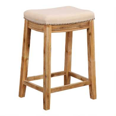 Natural Linen Mia Upholstered Counter Stool